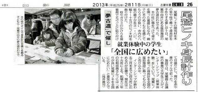 中日新聞 2013年2月11日号 広域 三重版